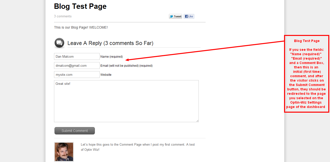 Blog Test Page for Comments